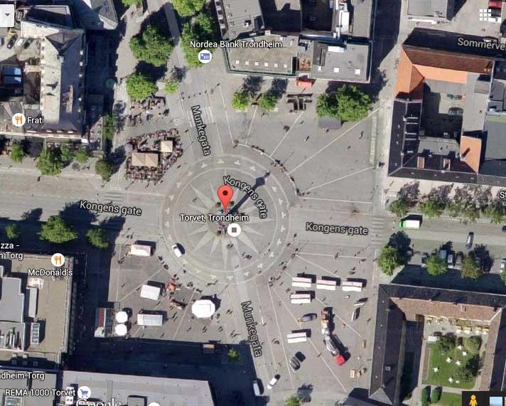 Torget i Trondheim enligt Google Maps