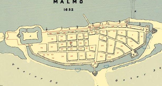 Karta Malmö 1652