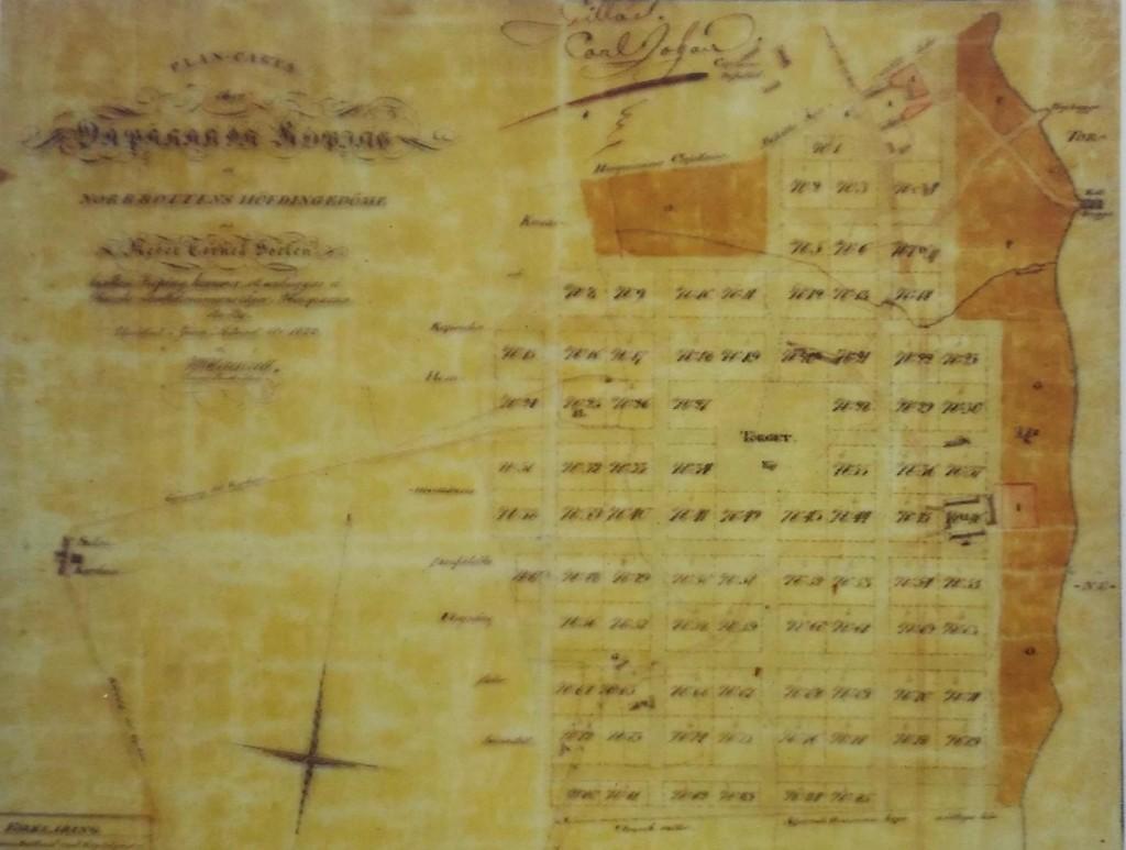 Stadsplanen från 1826. Något beskuren.