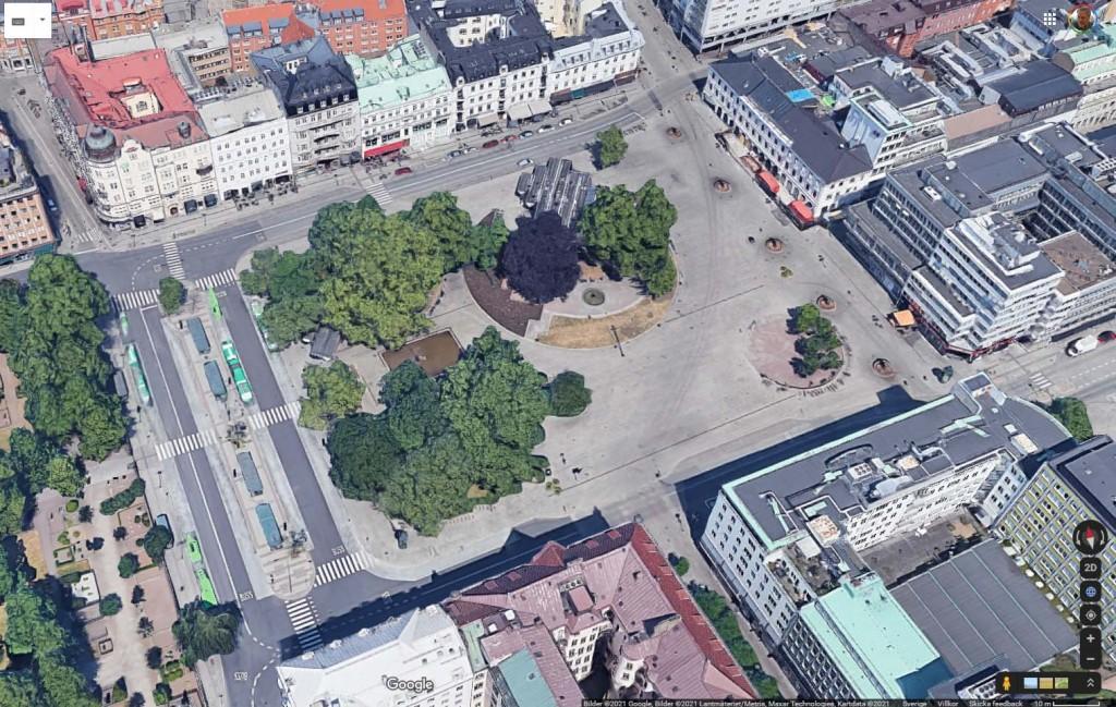 Gustav Adolfs torg, Malmö. Snedbild från Google Maps